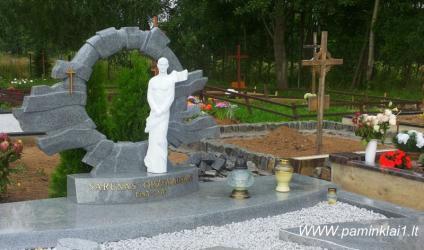 Šarūno Oržekausko kapas..kapo dengimas granito plokštėmis.Portretas . Skulptūra