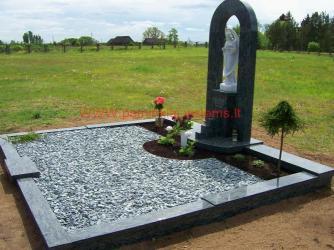 Šeimyninis kapas - Olivin grin granitas , granito grudeliai , skulptura -.